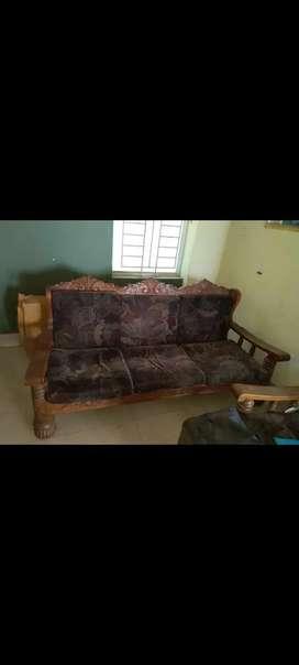 Teakwood sofa 3+1+1 & wooden tea table