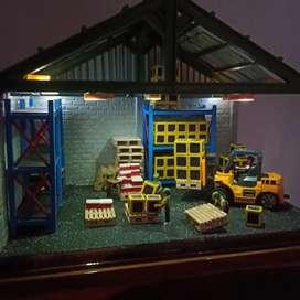 Kerajinan kayu diorama pabrik