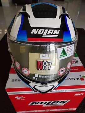 Helm Nolan N87 Arkad White Blue Red (Original Italy)