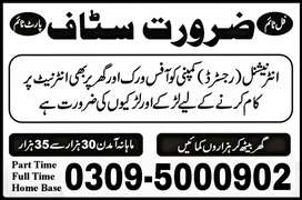 Office Base Male Female Staff Required In our Office