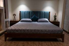 Oak Veneer King Size Double Bed with Side Tables