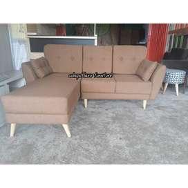sofa L sambung double sandaran