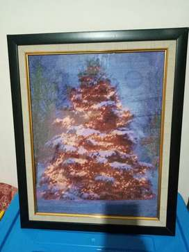 Jual Cepat Rajutan Christmas Tree 61x50 + Frame bagus rapi