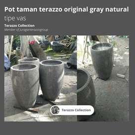 pot taman terazzo original gray natural tipe vas