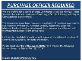 PURCHASE OFFICER REQUIRED