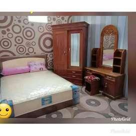 Promo murah satu paket hemat,Spring bed, lemari jati,meja rias jati
