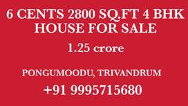 6 CENTS 2800 SQ.FT 4 BHK HOUSE FOR SALE AT PONGUMOODU