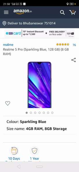 Realme 5pro 8gb ram 128gb rom,1year insurance,18 days old
