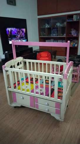 Wooden cot plus cradle deco painted with wheel and space saving drawer