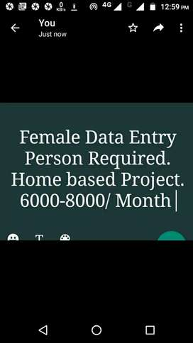 Female Data Entry Person (Home Based)