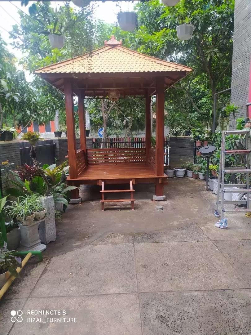 Saung gazebo kayu jati ukuran 2x2m ready