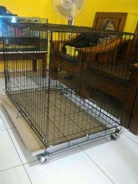 kandang anjing ,kucing 90cm jumbo roda tingkat baru stok