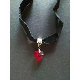 Kalung Perhiasan Choker Aksesoris Fashion Merah Love Hati Heart