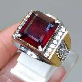 Cincin Red Garnet Bentuk Kotak Square  Mulia Akik Natural Asli