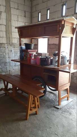 Gerobak Angkringan bahan kayu Jati Full Set