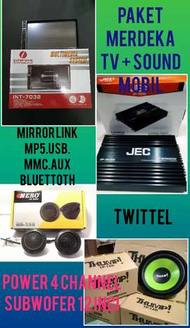 Paket Complit Harga Miring Tv Mobil + 1 Set Sound Mobil Bisa Kredit