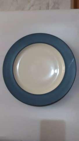 Piring Keramik Porselen Lebar Tebal VIVERE Dinner Plate Blue White