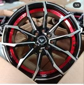 jual Velg Avanza Xenia Vorsteiner Thunder 15x6.5 black face red stripe