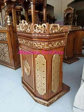 Mimbar podium masjid material jati