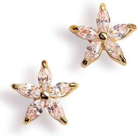 Elegant Cubic Zirconia 1k Gold Plated Flower Earring for Women/Girl
