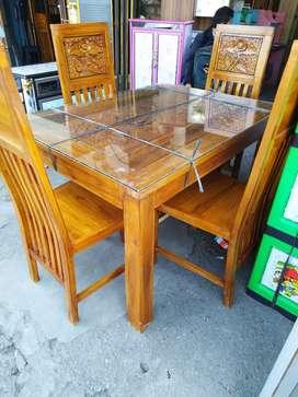 Meja makan kursi 4 kayu jati jepara, kota palembang