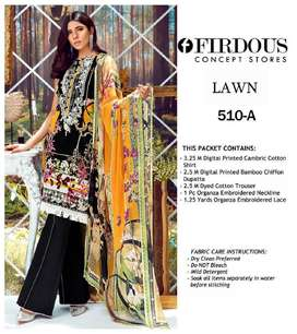 Fabric : Lawn with Chiffon Printed Dupatta  • Neck Embroidered • Back
