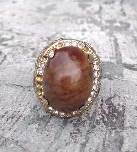 Cincin Natural Batu Fosil Kayu Raja Body sudah glass.