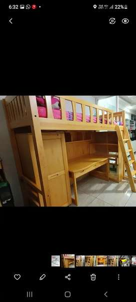 #  Important  Wooden study stable with children  bed