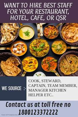 We Provide STAFF, For Restaurant, Hotel, Fast Food, Kitchen Staff Etc,