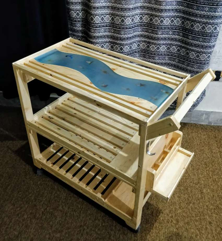 Kitchen serving tea trolley cart, solid wood with epoxy river top
