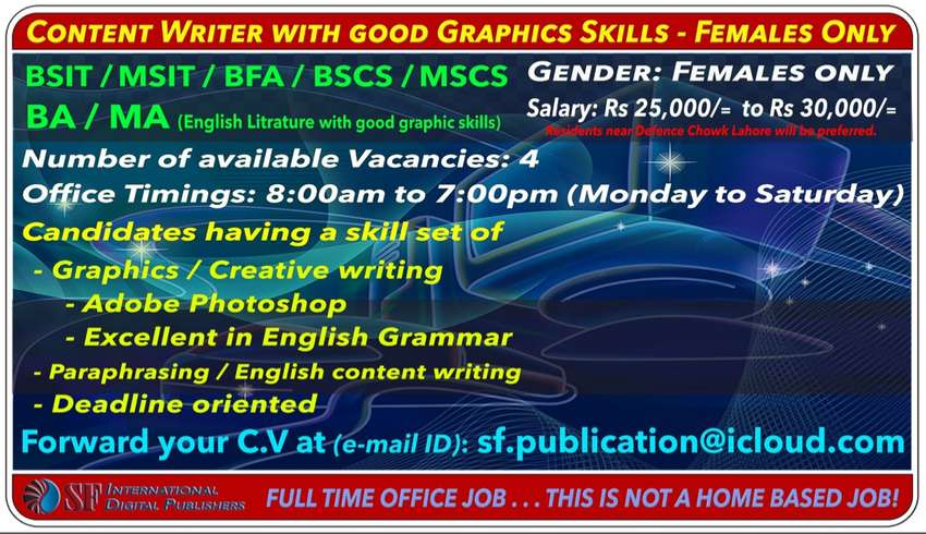 Content Writer with good Graphics Skills - Females Only 0