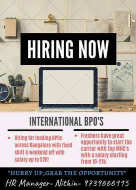 HIRING FOR TOP MOST BPOS FOR INTERNATIONAL AND DOMESTIC COMPANIES.