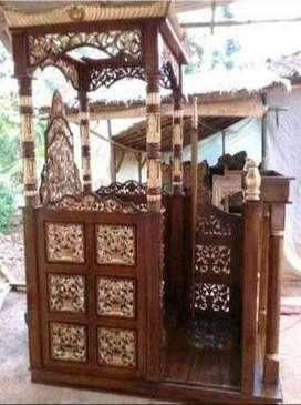 mimbar masjid ukir kubah jati ukirran