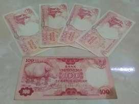 Uang kertas lama Rp100 Perahu Pinisi & Badak