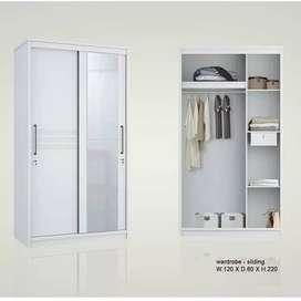 Lemari pakaian Pintu sliding (Pintu geser) White glossy Baru | COD