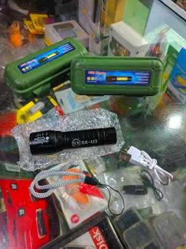 Senter Lampu mini LED SX u3 xpe zoom terang bisa di ces USB cc sepeda
