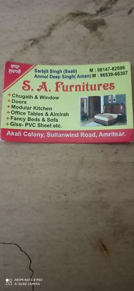 All furniture bed sofa PVC panel aur glass fitting