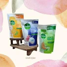 Dettol sabun mandi cair 410ml ( random) free Hand Sanitizer 200ml