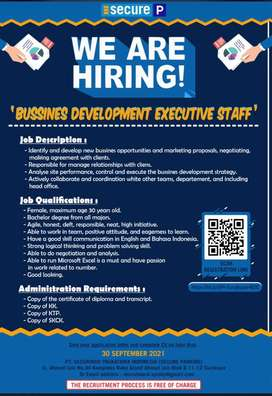 WE ARE HIRING STAFF BUSSINES DEVELOPMENT EXECUTIVE STAFF