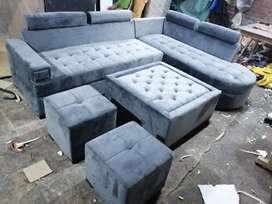 New L-Shape sofa set with table and two puffies