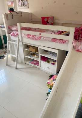 Loft bed with slide , study table and chair