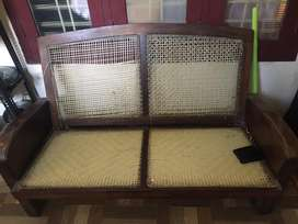 Wooden setty and chair