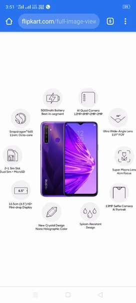 Realme 5 new phone 3gb and 32gb purpel colour