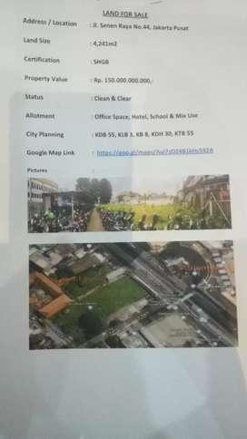 Dijual tanah 4.241 M2 Jl Senen  Raya No 44 JKT PST Rp 150 M negosiasi
