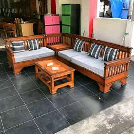 kursi sudut meja tamu model baru bahan kayu jati
