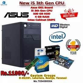 New i5 cpu 3rd gen 4gb ram 500gb hdd asus h61bord cabinet smps 1y w