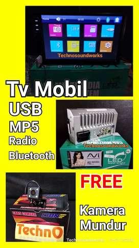 Paket Tv mobil usb Bluetooth + kamera mundur doubledin tape mirrorlink