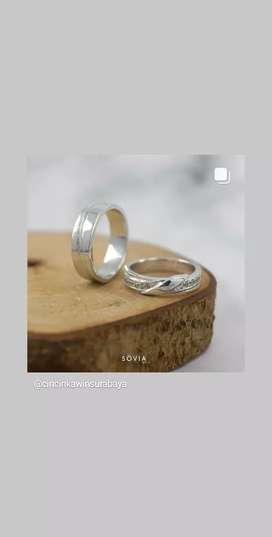 cincin couple silver model cincin bisa reqest bebas
