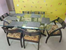 6 seater teak wood dining table