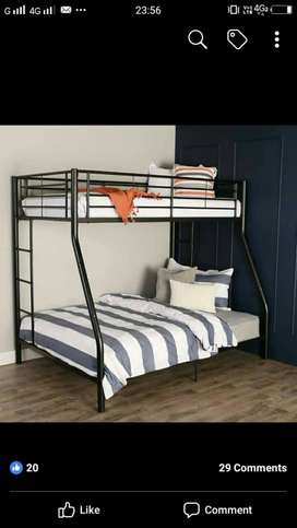 Black Metal Bunk Bed without matress brand new own manufacturing